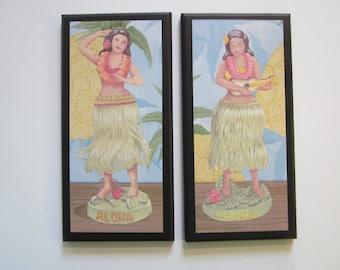 Hula Girls Wall Decor Plaques wooden tropical beach or ocean theme signs hula bobble dolls, retro, Hawaiian dancers