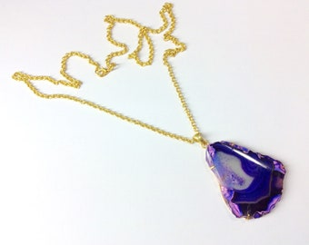 Agate brass necklace size 30 inch