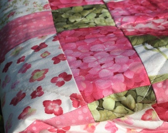 Pinky a handmade baby Quilt with flowers, Disappearing Nine Patch Quilt, Throw Quilt, Quilts
