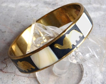 Vintage Elephant-Themed Brass and Mother-of-Pearl Bangle Bracelet - with Contrasting Black Enamel - Boho Hippie 1970s - Gold Black White