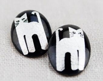 Cat Lady pair of  Black and White kitties Vintage 1980's earrings for pierced ears!
