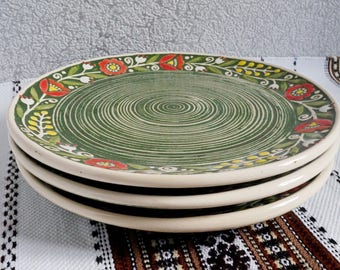 Handmade ceramic salad plate Pottery plate set Stoneware plates modern rustic dinnerware Fall gifts Green plates Wife gift christmas gifts