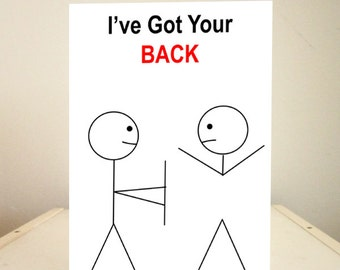 Funny Birthday Card, Funny Cards, Funny Valentine's Day Card, Funny Greeting Cards - I've Got Your Back