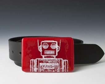 Fused Glass Robot Buckle
