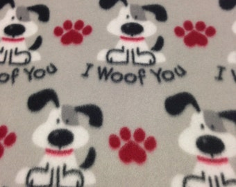 RaToob, I Woof You Gray and White Dogs and Red Pawprints on Light Gray