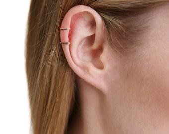 Double Ring Ear Cuff- Silver Ear Cuff- Gold Ear Cuff- Rose Gold Ear Cuff