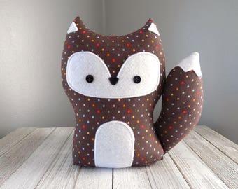 Stuffed toy fox, fox stuffed animal, fox in brown with multi color dots, woodland fox stuffed plush, woodland decor, woodland animal plushie