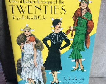 Great Fashion Designs of the TWENTIES, Paper Dolls in Full Color by Tom Tierney, Original Dover 1983 publication