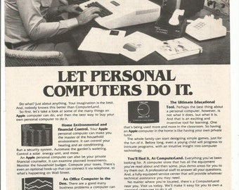 1979 Advertisement ComputerLand 70s Computers Black and White Family PC Personal Small Apple Wall Art Decor