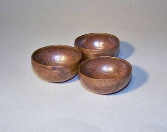 Three (3) Hand Crafted Native Trails, Hammered Copper Mini Bowls. Artisan Handcrafted Home Decor