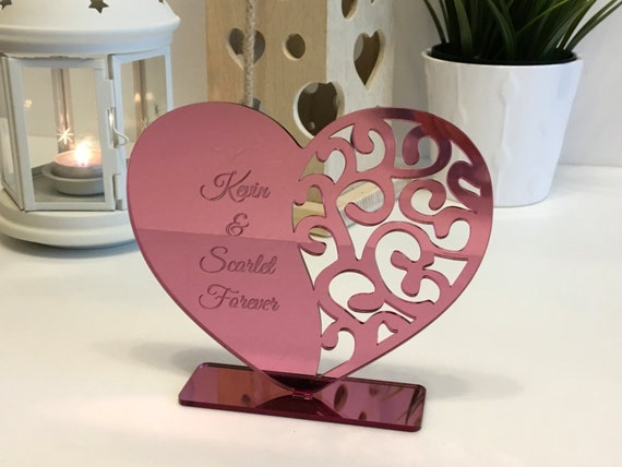 Personalised heart with names Gift for couple Pink Hearts Freestanding decorative ornament Wedding gift Engraved carved hearts Gift for her