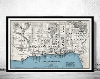 Old Map of Toronto, Ontario Canada 1873 Vintage map Toronto
