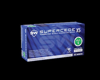 Supercede-X5 Nitrile Exam Gloves, Powder-Free, Non-Sterile, Non-Latex, Single Use | Convenient Dispenser Pack of 100. Multiple Sizes
