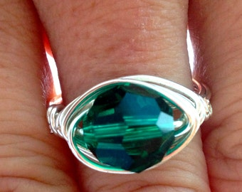 Sale, Emerald Ring, Swarovski Ring, May Birthstone Ring, Wire Wrap Ring,  Green Crystal Ring