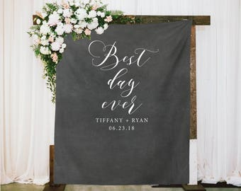 Chalkboard Wedding Photo Backdrop, Ceremony Backdrop, Calligraphy Wedding Reception Backdrop, Best Day Ever Fabric Backdrop, Wedding Decor