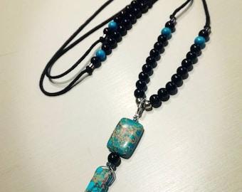 Esprit libre collier de jaspe impérial noir/bleu
