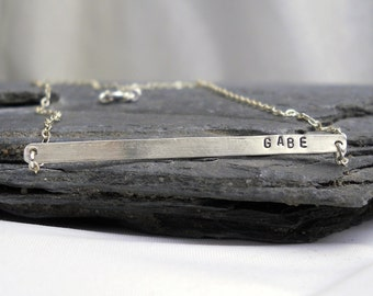 Tiny Name Bar Necklace - Sterling Silver Personalized Name Bar Necklace, Skinny Bar Necklace - Personalized Gift for HER under 40