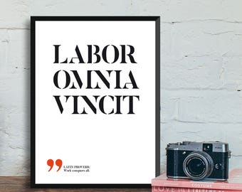 Labor omnia vincit - Work conquers all, Latin proverbs, Latin quotes, Latin sayings, Roman quotes, Printable wall art, INSTANT DOWNLOAD