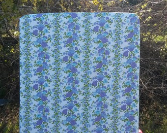 Vintage Blue and Purple Sheridan Floral Fitted Cot Sheet, Cot Sheets, Fitted Cot Sheets, Crib Sheet