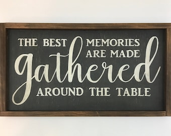 Gather Wood Sign - Gather Sign - The Best Memories Are Made Gathered Around The Table