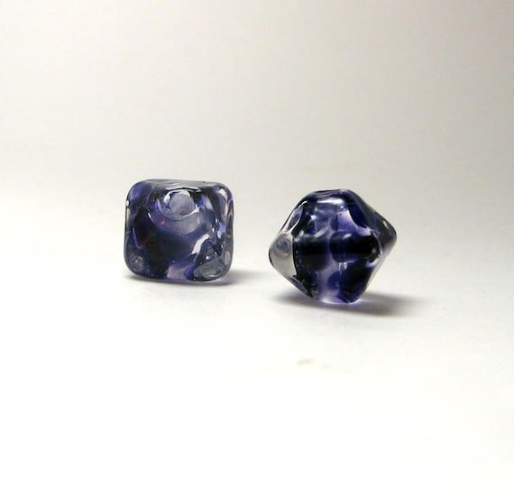 Tiny Deep Violet Jewels Artisan lampwork bead pair - Small 10mm handcrafted beads in a crystal shape-Deep Violet Crystal Bead - Gift for Her