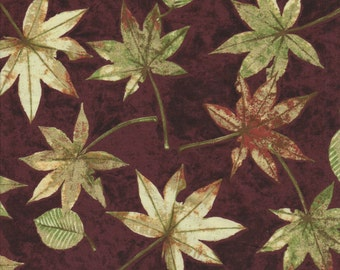 Shades of Autumn - Per Yd - PB Textiles - Norman Wyatt - Beyond Beautiful** Golden Leaves on Wine
