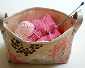 Fabric Basket with Leather Handles, Storage Bin.