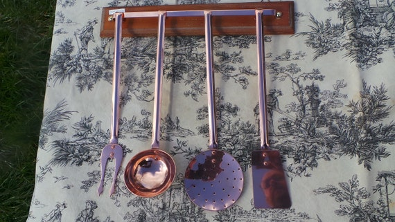 Kitchen Utensils Quality Vintage French Copper Hand Made Finished Good Set of Four Copper Kitchen Utensils Magnificent Set All Solid Copper