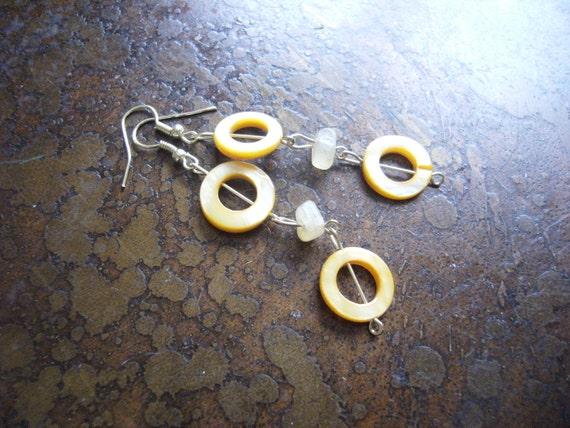 Just Golden Mother of Pearl Citrine Beaded Dangle earrings