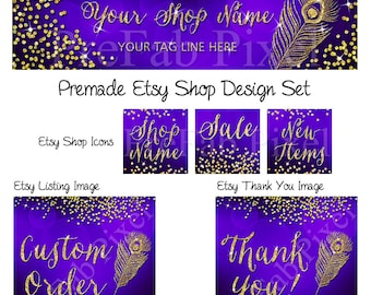 Etsy Shop Banner Set, Gold Glitter Banner, Peacock Etsy Banner, Jewelry Shop Banner, Purple Banner, Banner Design Set, Etsy Cover Photo
