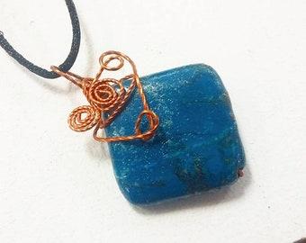 Blue Jasper Pendant in Copper