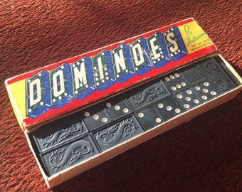 Vintage Dominoes by Halsam Double Sixes Vintage Game Wooden Dominoes Dragon Design 1950's 28 Pcs Original Box with Instructions- Made in USA