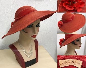 1940's orange straw wide brim tilt hat with rose detail