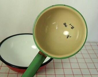 Vintage Ladle Green and Cream Enamelware Vintage Long Handle Dipper Spoon