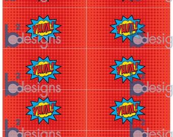 Superhero Napkin Wraps • Yum! Boom! • PC •Red Band • INSTANT DOWNLOAD