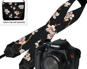 Canon Dslr Camera Strap Nikon Padded SLR Neck Strap Plum Blossom Asian Cherry floral red black white MTO