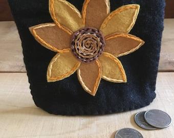 Sunflower Felt Pouch Embroidery Applique
