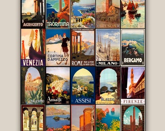 Voyage voyage collection affiches Vintage impression Italie 11 x 14 illustrations posters décor mural, décoration, arts décoratifs, décorations murales