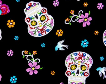 Sugar skulls fabric, Calaveras, Skulls, Day of the Dead fabric, 100% cotton fabric for Quilting crafting and all sewing projects.
