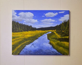 Original Acrylic Landscape - Prairie Stream