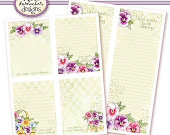 INSTANT DOWNLOAD Pansy Basket Note & List Papers Christian Printable Digital Art Religious Spring Flowers KD138