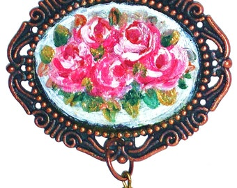 Painted Rose Necklace Romantic Vintage Style Romantic Victorian Jewelry FREE SHIPPING