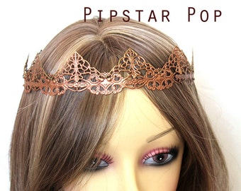 Copper Chime Red Filigree Medieval Crown (CR03) Princess style metal link crown for Larp, renaissance fair, elven wedding,gothic headpiece