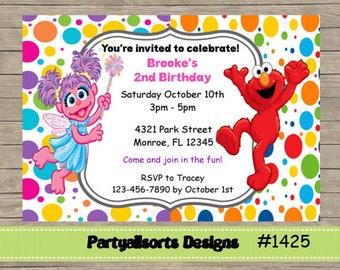 DIY - Abby/Elmo/Sesame Street Childrens Party Invitation