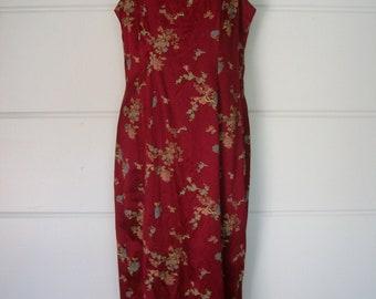 Asian Inspired Burgundy Floral Brocade Maxi Sleeveless Evening Gown Formal Sheath Dress Jody of California Size 9