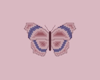 Violet and Mauve Butterfly Cross Stitch Pattern PDF Digital Download