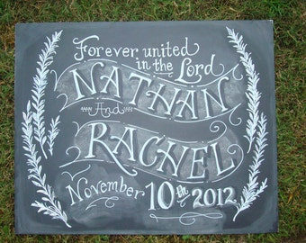 Chalkboard Art Sign for your Wedding or Event Unframed 18 x 24