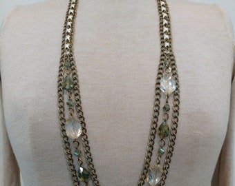 Olivine & Champagne Crystal Woven Swag Chain