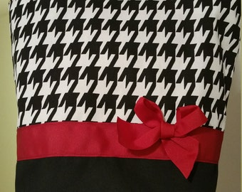 Classic Black & White houndstooth Red or OLIVE BAG  Purse Tote BAG or Diaperbag