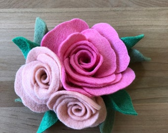 Romantic Rose Flower Crown | Felt Flower Headband or Clip